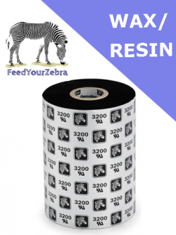 Zebra 3200 wax / resin thermal transfer ribbons - 131mm x 450m (03200BK13145)