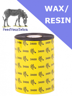 Zebra 3400 wax / resin thermal transfer ribbons - 60mm x 450m (03400BK06045)