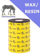 Zebra 3400 wax / resin thermal transfer ribbons - 40mm x 450m (03400BK04045)